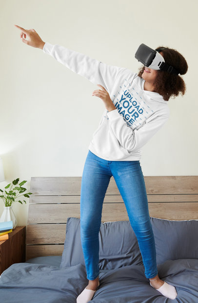 Hoodie Mockup of a Young Woman Having Fun with a VR Headset M16248-r-el2