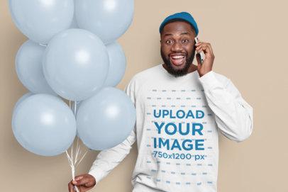 Sweatshirt Mockup of a Joyful Bearded Man Holding Colored Balloons m3653-r-el2