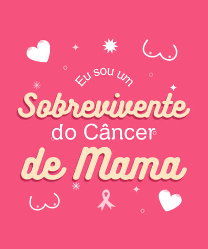 T-Shirt Design Template With a Breast Cancer Quote in Portuguese 4061d