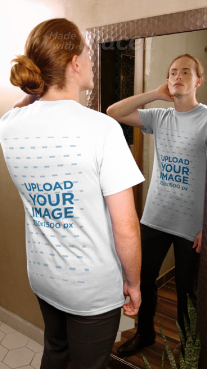 T-Shirt Video of a Long-Haired Man Checking Himself Out in the Mirror 3999v