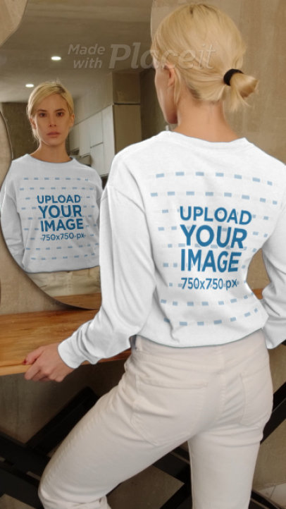 Long Sleeve Tee Video Featuring a Serious Woman Standing in Front of a Mirror 4045v