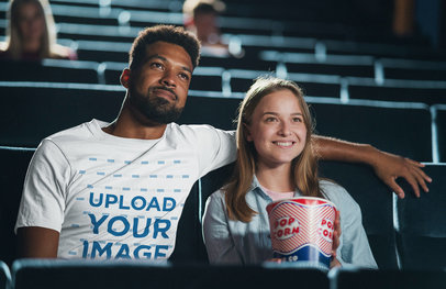 T-Shirt Mockup of a Man at the Movies with His Girlfriend m15085-r-el2