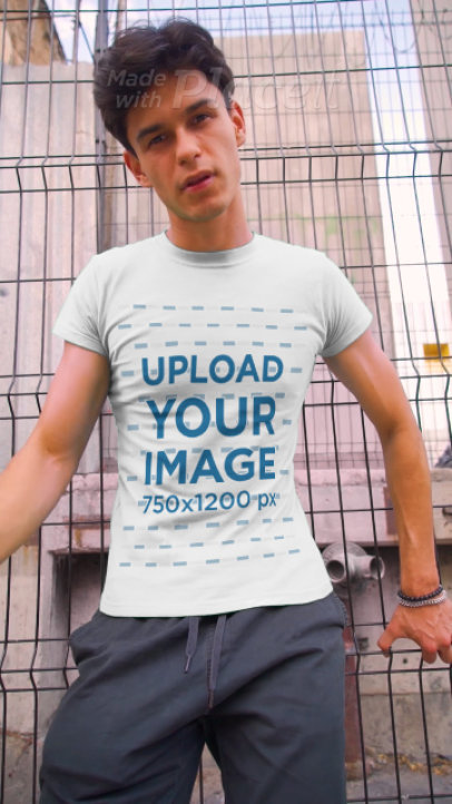 Video Featuring a Serious Man With Sunglasses Wearing a Customizable T-Shirt 3583v
