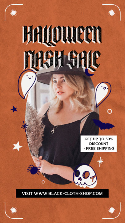Instagram Story Design Template with a Halloween-Themed Frame for a Special Sale 4082