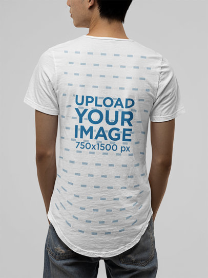 Back-View Mockup of a Man Wearing a Bella Canvas Tee with a Curved Hem m13897