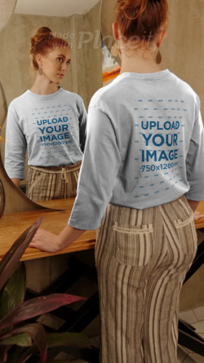 Three-Quarter Sleeve Tee Video of a Woman Looking at Herself in a Mirror 4040v