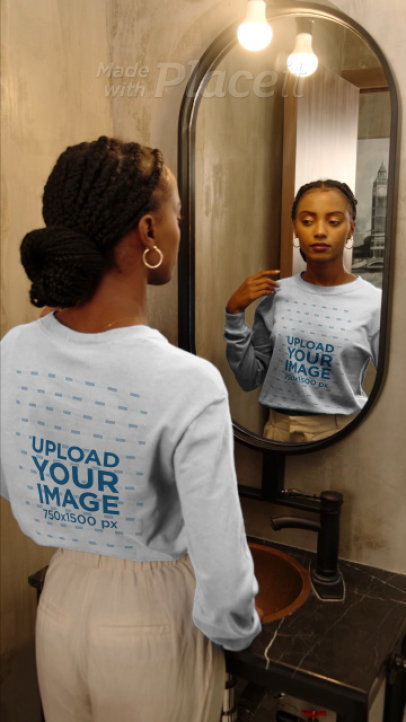 Long Sleeve Tee Video Featuring a Woman Posing in Front of a Mirror 4056v