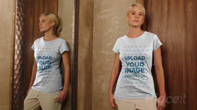 Video of a Woman Posing in Front of a Mirror with a Round-Neck T-Shirt 4043v