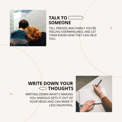 Instagram Post Design Template Featuring a Mental Health Day Theme for a Minimal Carousel 4413E-el1