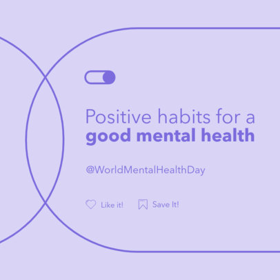Instagram Post Template with Positive Habits for a Good Mental Health 4408d-el1