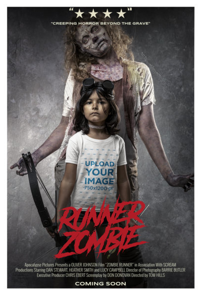 T-Shirt Mockup Featuring a Little Girl and a Zombie in a Movie Poster-Style M15884