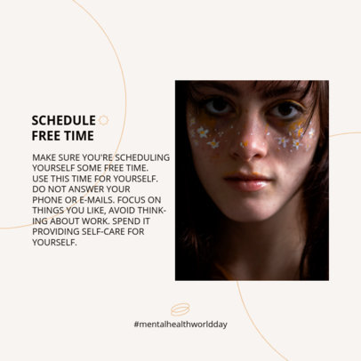 Instagram Post Design Template for a Carousel With a Mental Health Day Theme 4414e-el1
