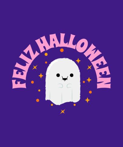 Halloween T-Shirt Design Maker Featuring a Cute Little Ghost 4078a