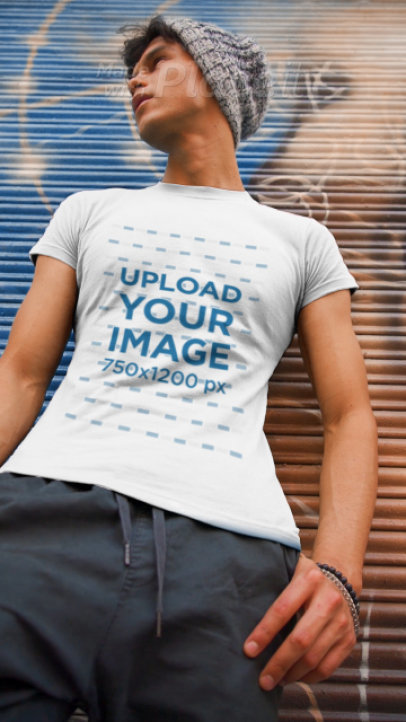 Round-Neck Tee Video of a Man Posing by a Spray-Painted Grafiti 3585v