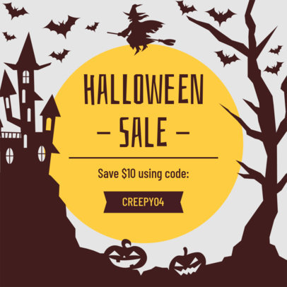Ad Banner Generator Featuring Illustrated Silhouettes for a Halloween Sale 4079e