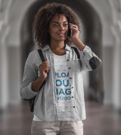 T-Shirt Mockup of a Young Woman Talking on the Phone at School M16477-r-el2