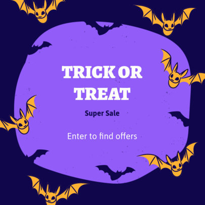 Instagram Post Template for a Halloween Offer Featuring Bat Illustrations 4080e