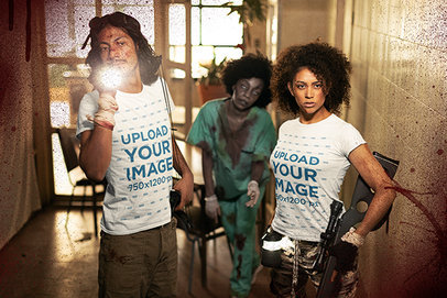 Horror-Themed T-Shirt Mockup of a Man and a Woman in a Zombie-Infested Hospital m15757