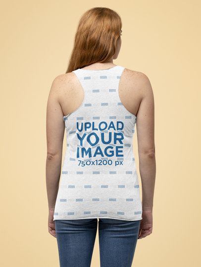 Mockup of the Back of a Woman Posing with a Bella Canvas Tank Top m14303