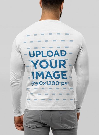 Back View Mockup of a Man Wearing a Bella Canvas Long Sleeve Tee m13942