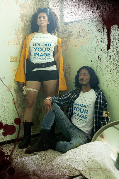 T-Shirt Mockup Featuring Two Survivors of a Zombie Attack m15761