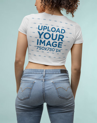 Back-View Mockup Featuring a Woman Wearing a Bella Canvas Crop Top M14337