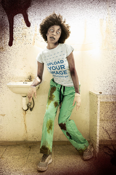 Halloween-Themed T-Shirt Mockup Featuring a Zombie Nurse m15803