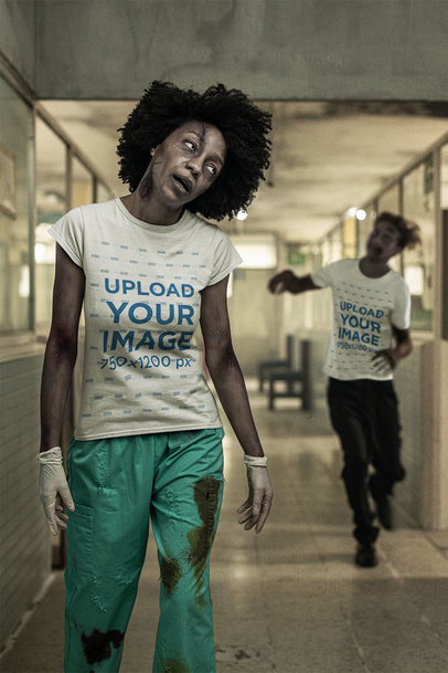 T-Shirt Mockup Featuring Two Zombies in a Corridor m15797