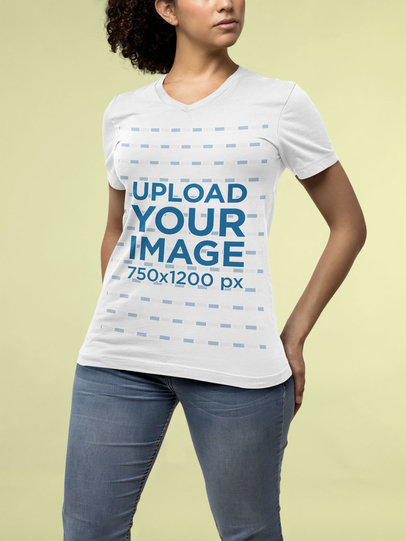 Mockup of a Curly-Haired Woman Wearing a Bella Canvas V-Neck T-Shirt m14327