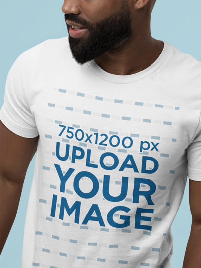 Closeup View Mockup of a Bearded Man with a Round-Neck Bella Canvas T-Shirt M13946