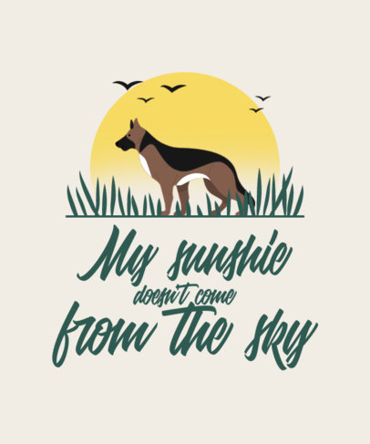 T-Shirt Design Template Featuring a German Shepherd Illustration 4443a-el1