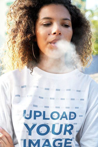 Long Sleeve Tee Mockup of a Curly-Haired Woman Smoking m14164-r-el2