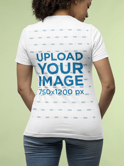 Back View Mockup of a Curly-Haired Woman Wearing a Bella Canvas T-Shirt m14339