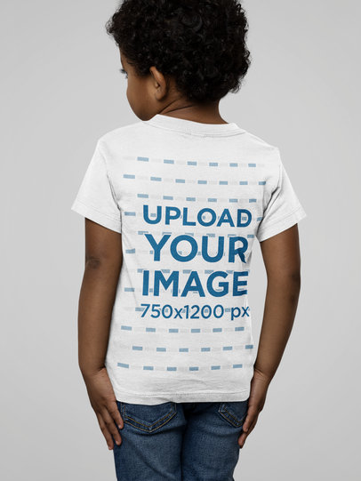 Back-View Mockup of a Little Kid Wearing a Basic Bella Canvas T-Shirt M14948