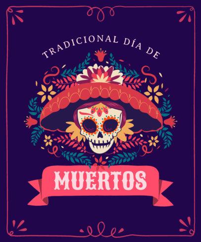 T-Shirt Design Generator for Dia de Muertos with a Traditional Catrina Illustration 4102b