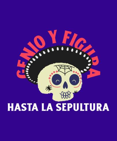 Dia de Muertos-Themed T-Shirt Design Creator with a Friendly Skull Illustration 4104b