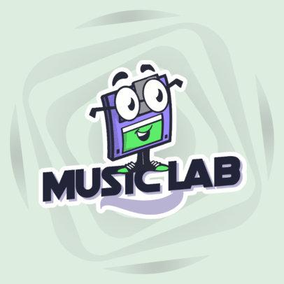 Logo Maker for a Recording Studio with a Retro Floppy Disk Cartoon 4680g