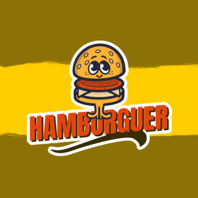 Logo Template for a Foodie Blogger Featuring a Retro Burger Cartoon 4680h