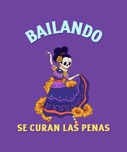 T-Shirt Design Creator With Illustrations of Dia de Muertos 4103g
