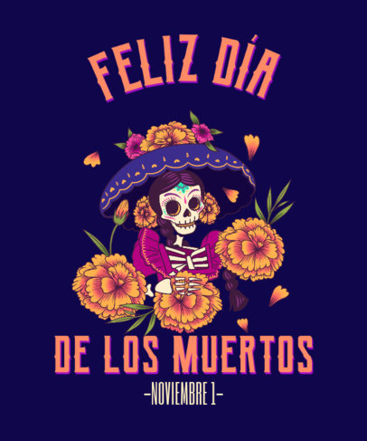 Illustrated T-Shirt Design Maker With a Day of the Dead Theme 4103f