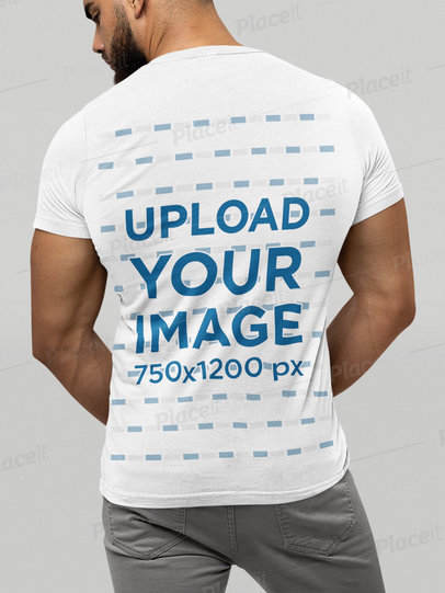 Back-View Mockup of a Muscled Man Wearing a Bella Canvas T-Shirt m13936
