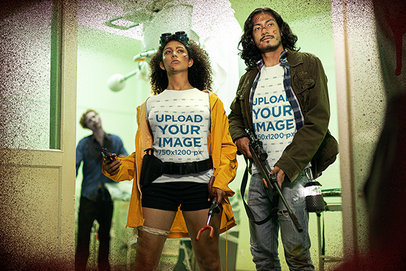 T-Shirt Mockup of Two Zombie Hunters at a Hospital m15762