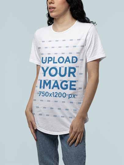 Mockup of a Woman Posing with a Unisex Short-Sleeve Tee from Bella Canvas m14636