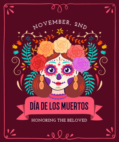 Colorful T-Shirt Design Generator Featuring a Day of the Dead-Inspired Catrina 4102f