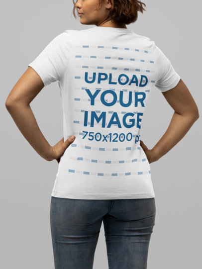 T-Shirt Mockup of a Woman Posing with Her Hands on Her Hips M14345