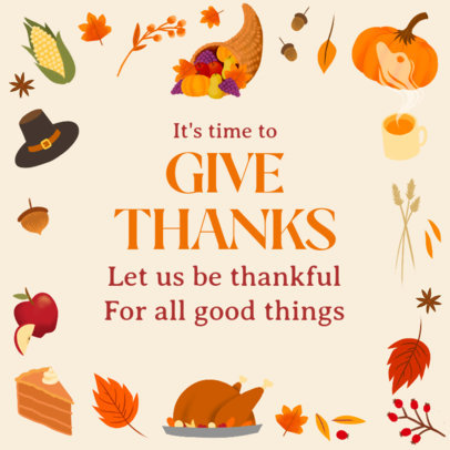 Instagram Post Design Maker Featuring Thanksgiving Quotes and Graphics 4127