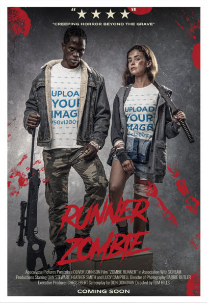 T-Shirt Mockup Inspired by a Zombie Movie Poster Featuring Two People m15869