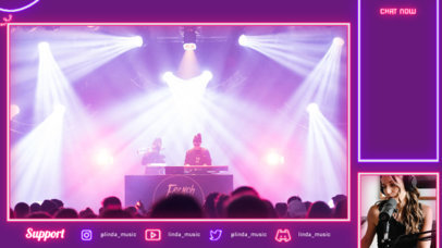 Twitch Overlay Generator for Music Streamers Featuring Neon Graphics 4464d-el1