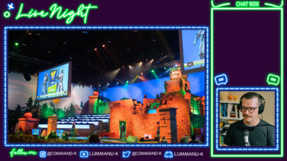Twitch Overlay Maker for Just Chatting Streamers with a Neon Theme 4468a-el1