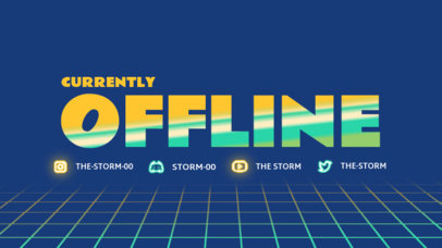 Offline Banner Generator for a Twitch Streamer Featuring Glowing Icons 4461c-el1